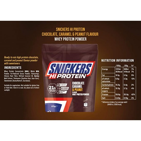 Snickers HiProtein Whey Protein Powder CHOCOLATE CARAMEL and PEANUT 875g